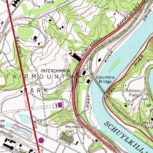 Topographic Map of Interchange 341, PA