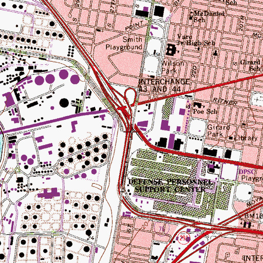 Topographic Map of Interchange 347B, PA