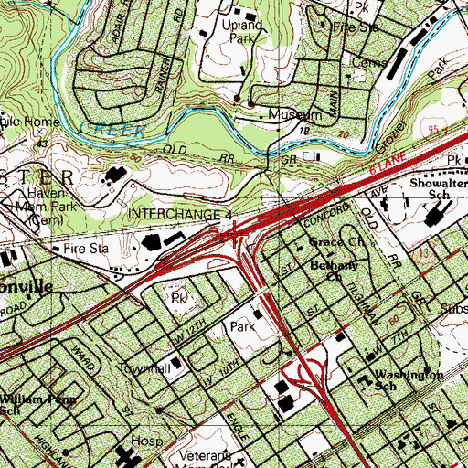 Topographic Map of Interchange 4, PA