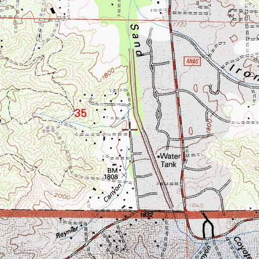 Topographic Map of Reynier Canyon, CA