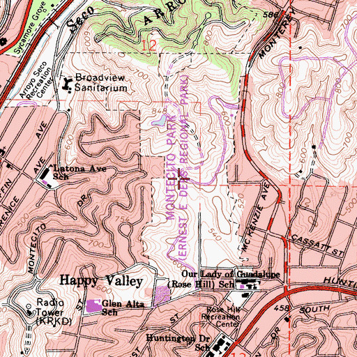 Topographic Map of Rose Hill Park, CA