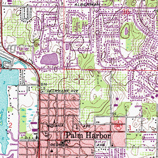 Topographic Map of Palm Harbor University High School, FL