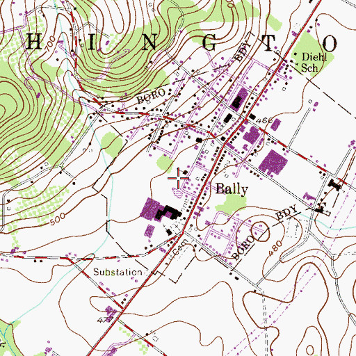 Topographic Map of Bally Community Swimming Pool, PA