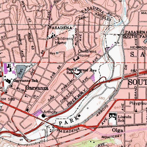 Topographic Map of San Pascual Elementary School, CA