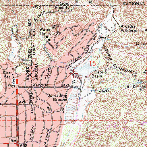 Topographic Map of Santa Anita Canyon, CA