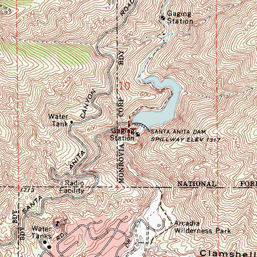 Topographic Map of Santa Anita Dam, CA