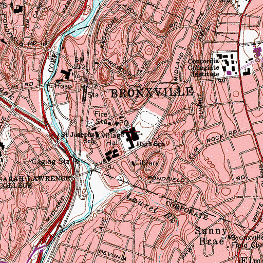 Topographic Map of Bronxville Elementary School, NY