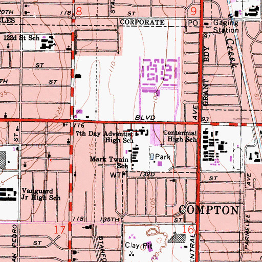 Topographic Map of Los Angeles Adventist Academy K-12, CA