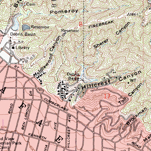 Topographic Map of Sherer Canyon, CA