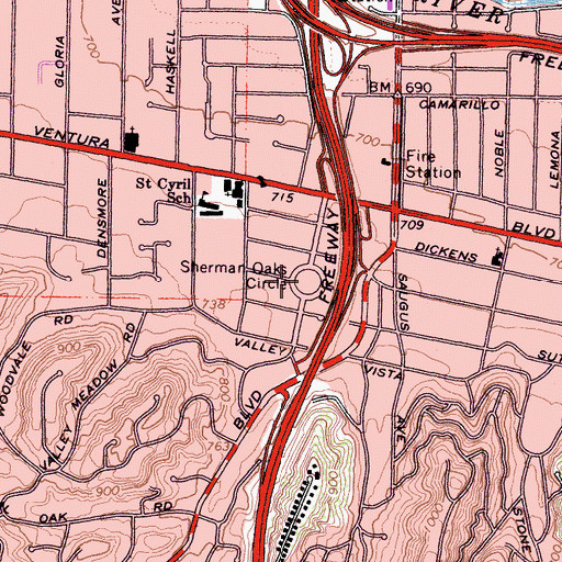 Topographic Map of Sherman Oaks Circle, CA