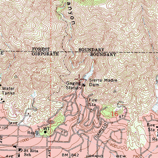 Topographic Map of Sierra Madre Dam, CA