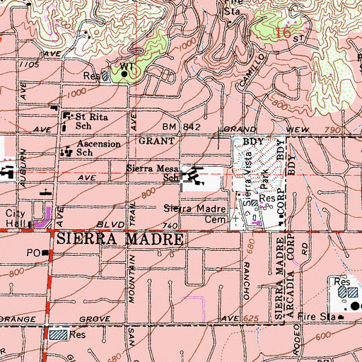 Topographic Map of Sierra Mesa School, CA