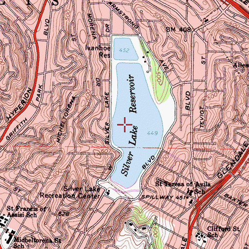 Topographic Map of Silver Lake Reservoir, CA