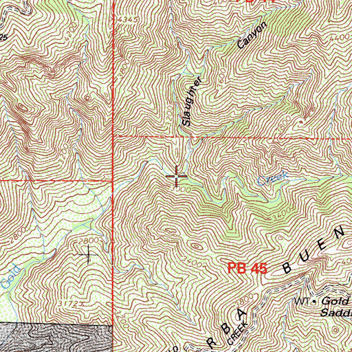 Topographic Map of Slaughter Canyon, CA