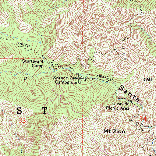 Topographic Map of Spruce Grove Campground, CA
