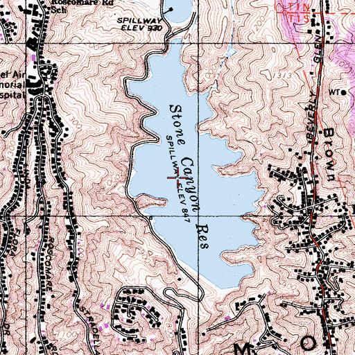 Topographic Map of Stone Canyon Reservoir, CA