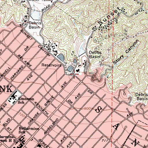 Topographic Map of Sunset Canyon, CA