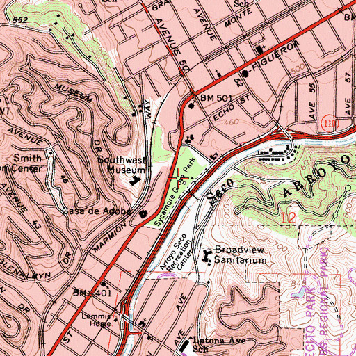 Topographic Map of Sycamore Grove Park, CA