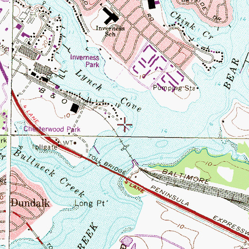 Topographic Map of Anchor Bay East Marina, MD