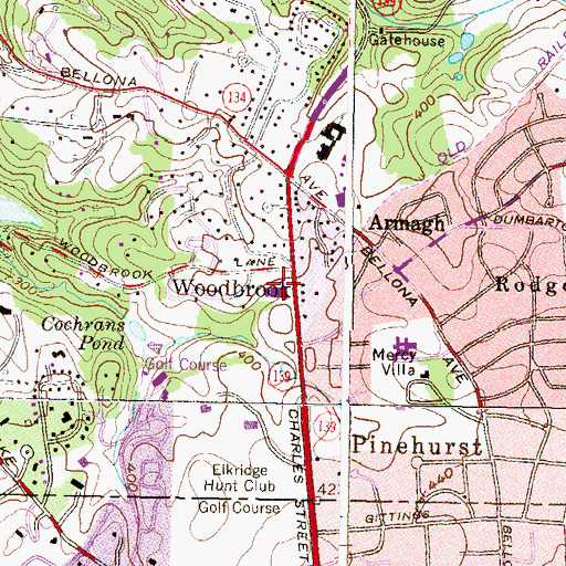 Topographic Map of Brown Memorial Woodbrook Presbyterian Church, MD