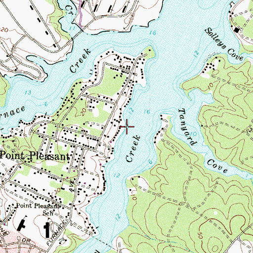 Topographic Map of Captains Cove Marina, MD