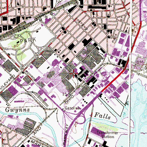 Topographic Map of Carroll - Camden Industrial Park, MD