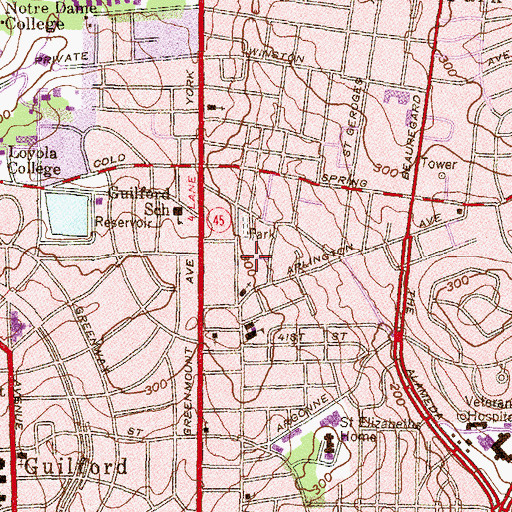 Topographic Map of Church of the Redeemed of the Lord, MD
