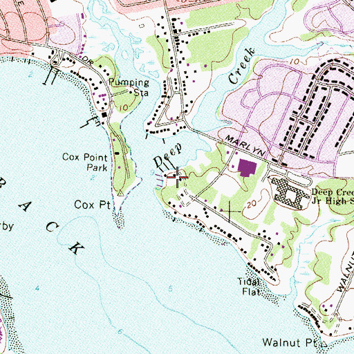 Topographic Map of Essex Yacht Harbor Marina, MD