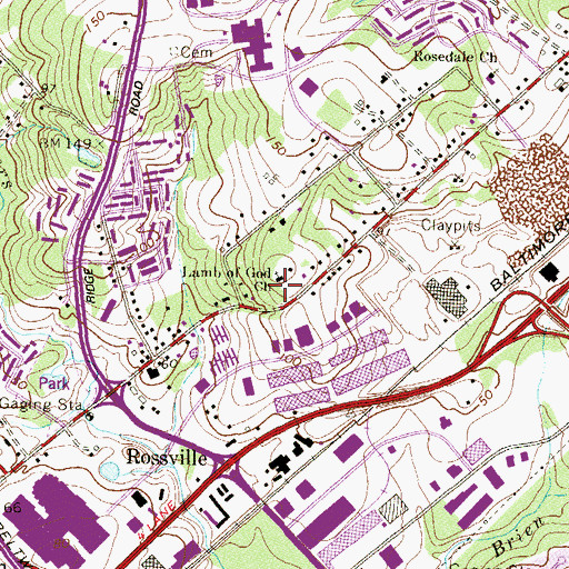 Topographic Map of Living Water Evangelical Church, MD
