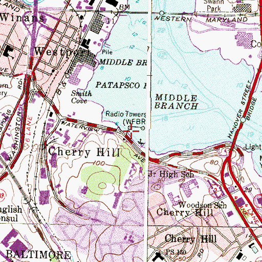 Topographic Map of Middle Branch Marina, MD