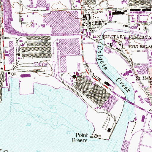Topographic Map of Point Breeze Industrial Park, MD