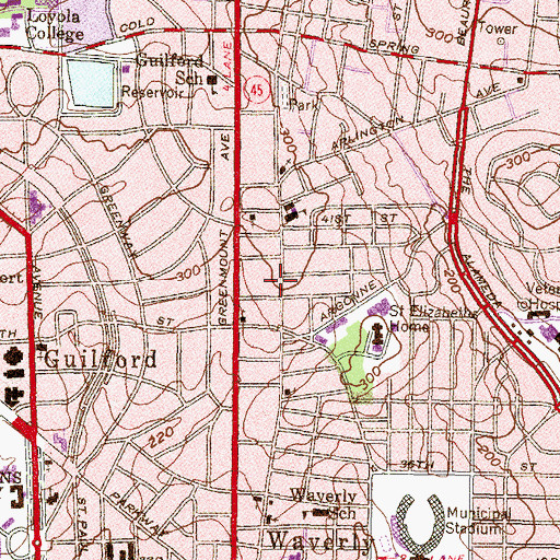 Topographic Map of Saint James Free Baptist Church, MD