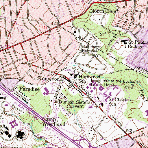 Topographic Map of Saint Martin's Home Assisted Living Center, MD