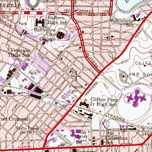 Topographic Map of Wings of Victory Church, MD
