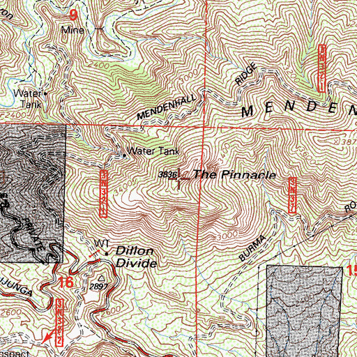 Topographic Map of The Pinnacle, CA