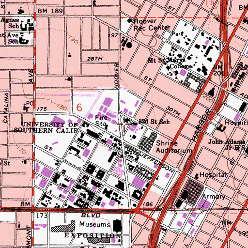 Topographic Map of Thirtythird Street School, CA