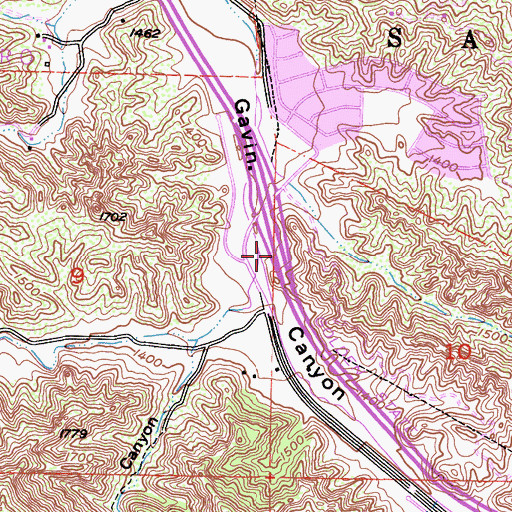 Topographic Map of Towsley Canyon, CA