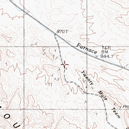 Topographic Map of Twenty Mule Team Canyon, CA