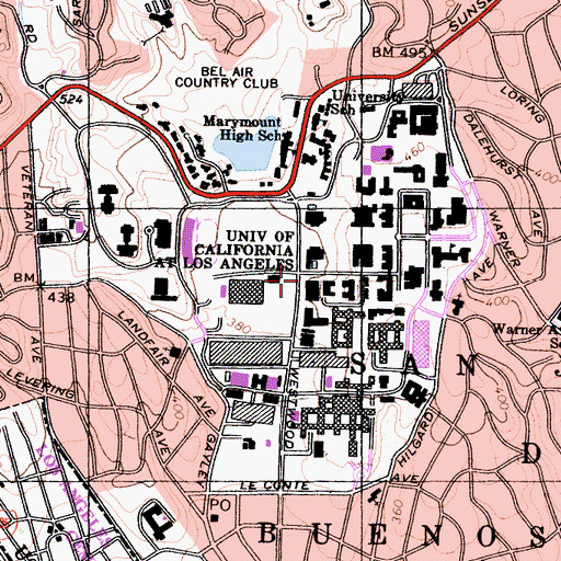 Topographic Map of University of California - Los Angeles, CA