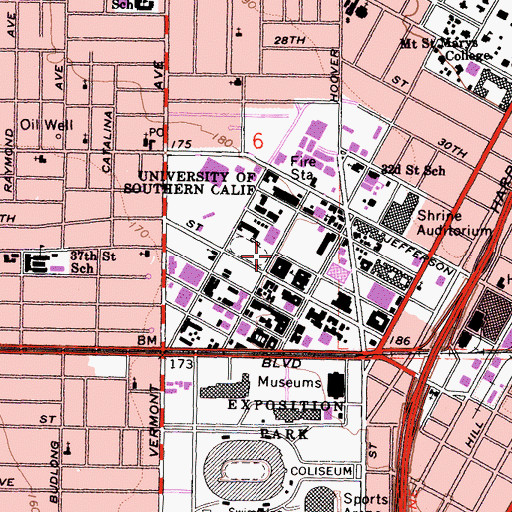 Topographic Map of University of Southern California, CA