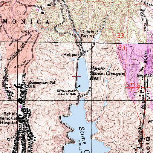 Topographic Map of Upper Stone Canyon Reservoir, CA