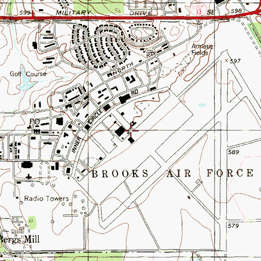 Topographic Map of Brooks Air Force Base, TX
