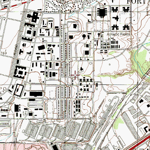 Topographic Map of Fort Sam Houston, TX
