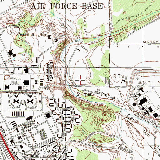 Topographic Map of Lackland Air Force Base, TX
