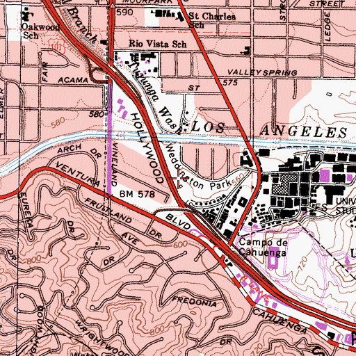 Topographic Map of Weddington Park, CA