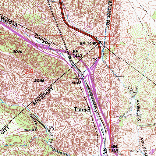Topographic Map of Weldon Canyon, CA