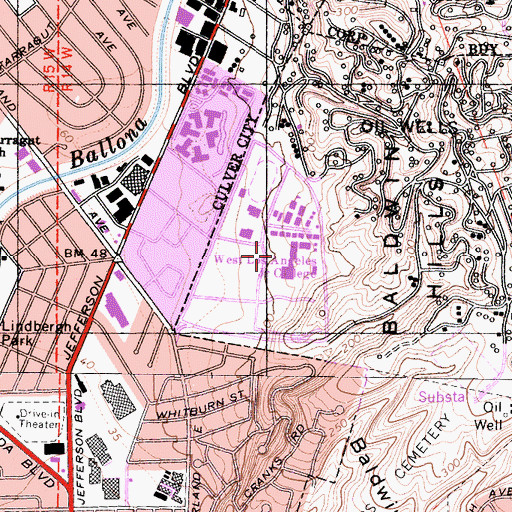 Topographic Map of West Los Angeles College, CA