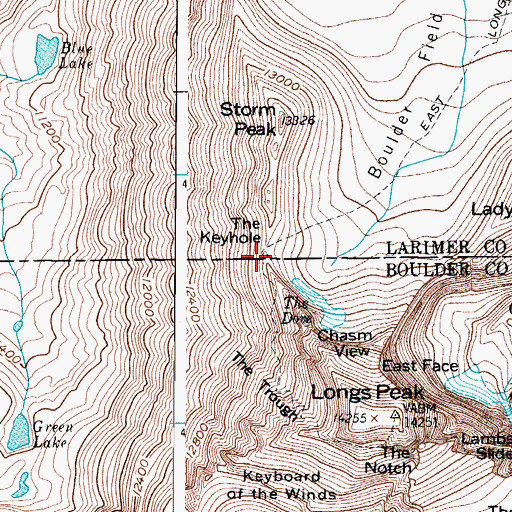 Topographic Map of Agnes Vaille Memorial Shelter, CO