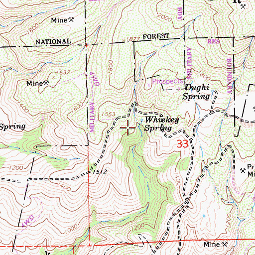Topographic Map of Whiskey Spring, CA