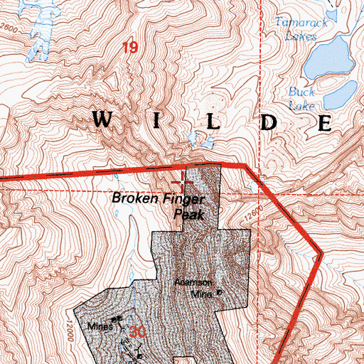 Topographic Map of Broken Finger Peak, CA